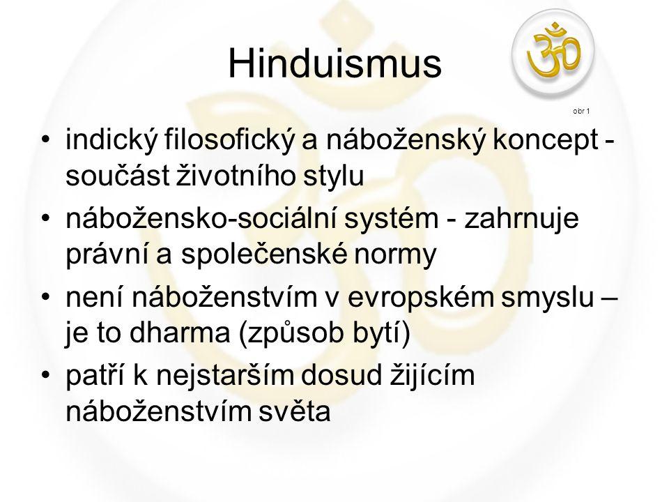 Hinduismus obr 1. indický filosofický a náboženský koncept - součást životního stylu.