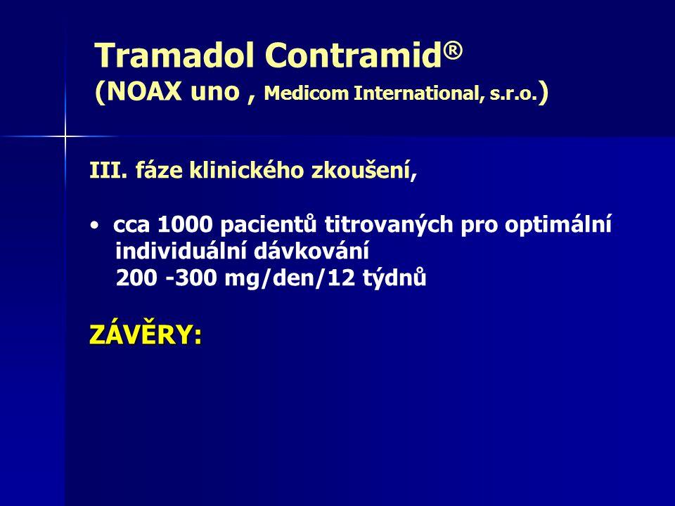 Tramadol Contramid® (NOAX uno , Medicom International, s.r.o.) ZÁVĚRY: