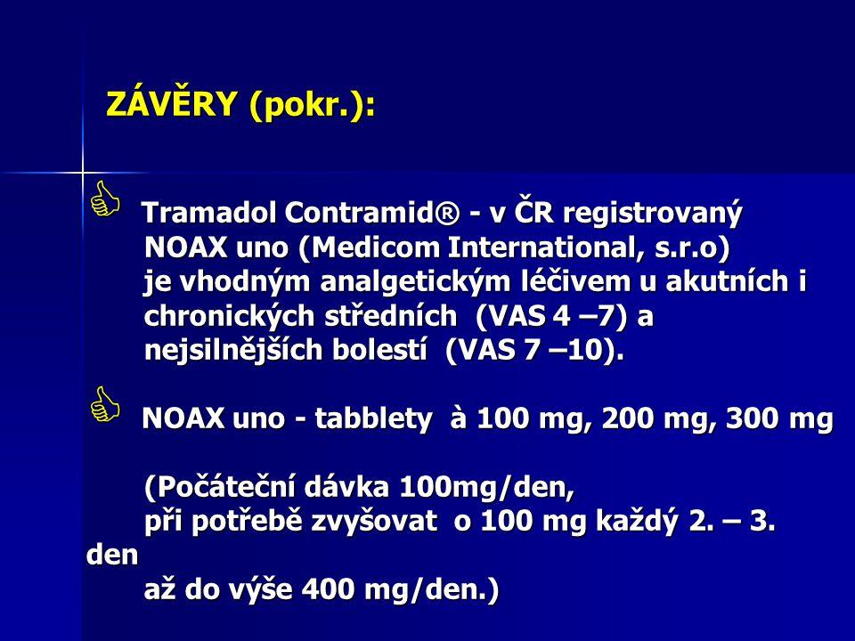 ZÁVĚRY (pokr.): Tramadol Contramid® - v ČR registrovaný