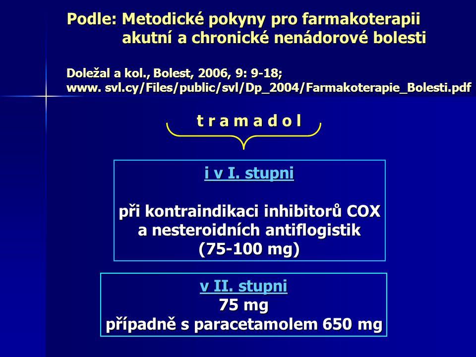 Podle: Metodické pokyny pro farmakoterapii