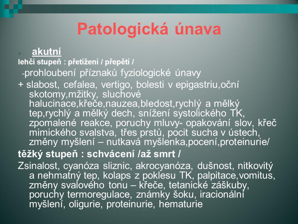 Patologická únava . akutní. lehčí stupeň : přetížení / přepětí / -prohloubení příznaků fyziologické únavy.