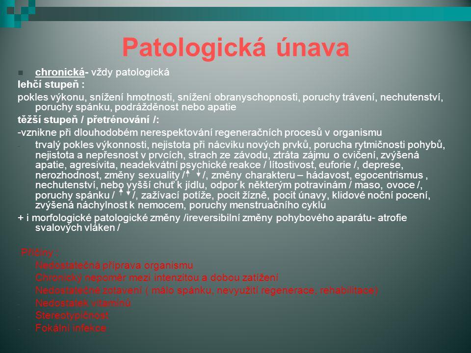 Patologická únava Příčiny : chronická- vždy patologická lehčí stupeň :