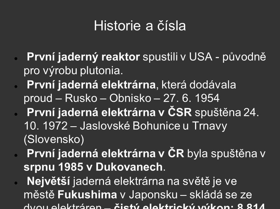 Historie a čísla První jaderný reaktor spustili v USA - původně pro výrobu plutonia.
