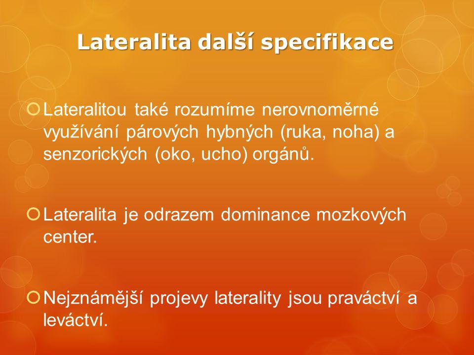 Lateralita další specifikace