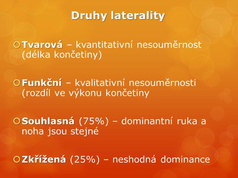 Druhy laterality Tvarová – kvantitativní nesouměrnost (délka končetiny) Funkční – kvalitativní nesouměrnosti (rozdíl ve výkonu končetiny.