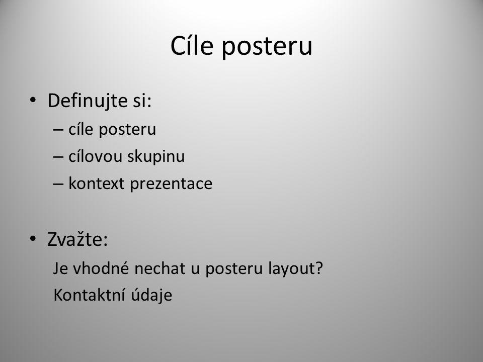 Cíle posteru Definujte si: Zvažte: cíle posteru cílovou skupinu