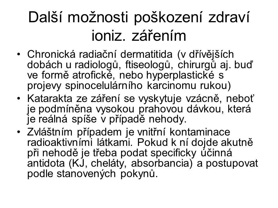 Další možnosti poškození zdraví ioniz. zářením