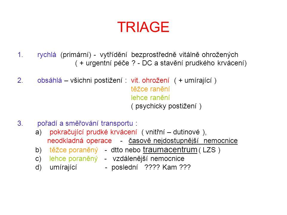 TRIAGE rychlá (primární) - vytřídění bezprostředně vitálně ohrožených