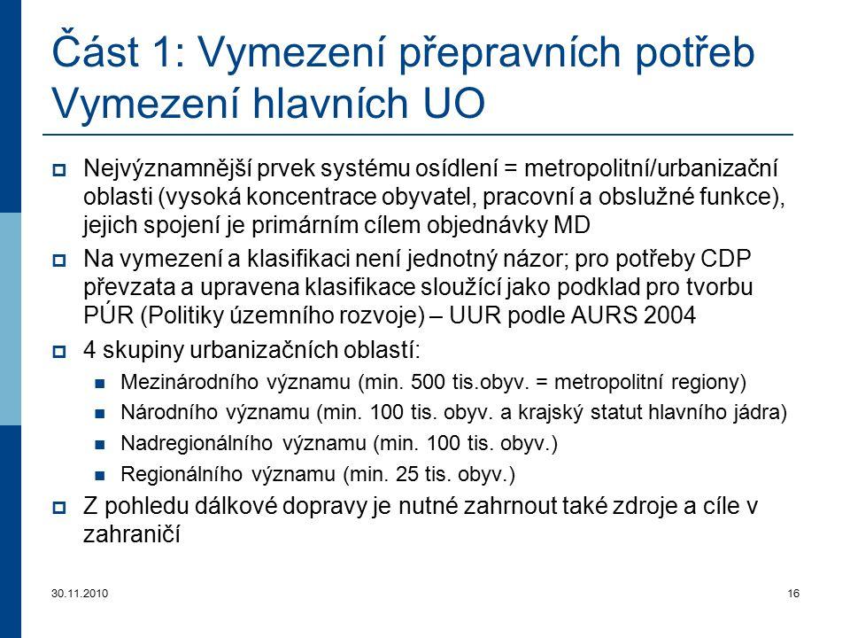 Část 1: Vymezení přepravních potřeb Vymezení hlavních UO