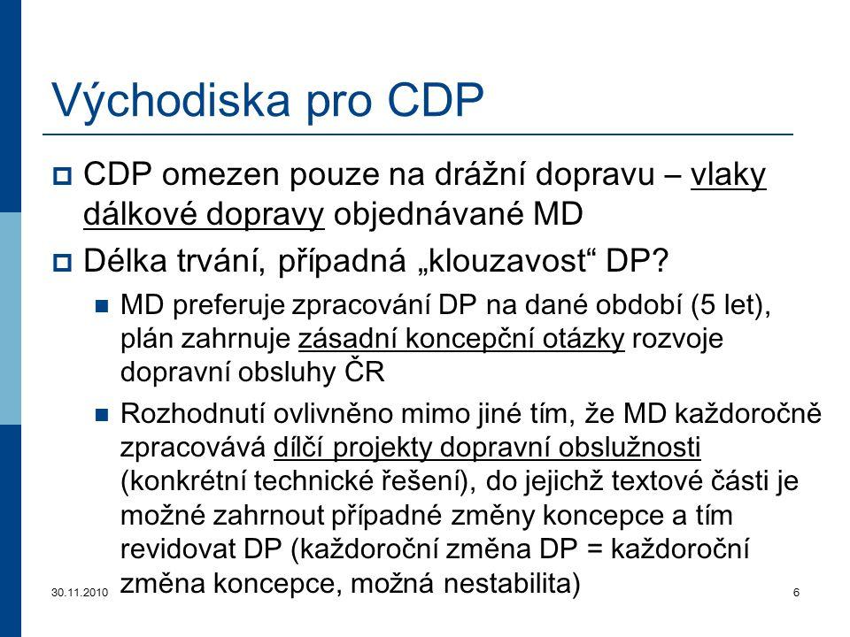 """Východiska pro CDP CDP omezen pouze na drážní dopravu – vlaky dálkové dopravy objednávané MD. Délka trvání, případná """"klouzavost DP"""