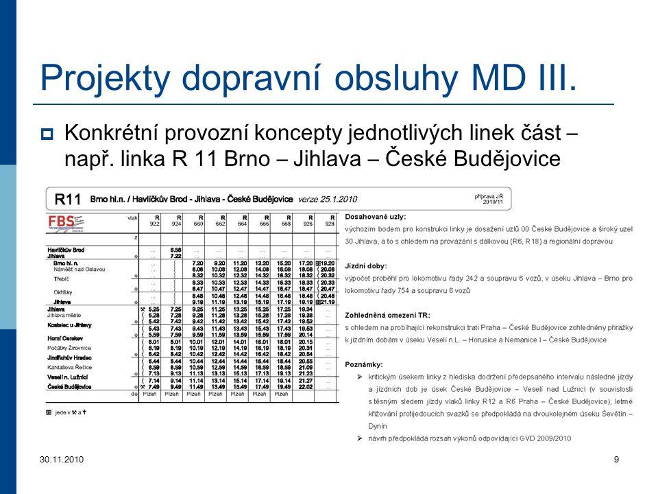 Projekty dopravní obsluhy MD III.