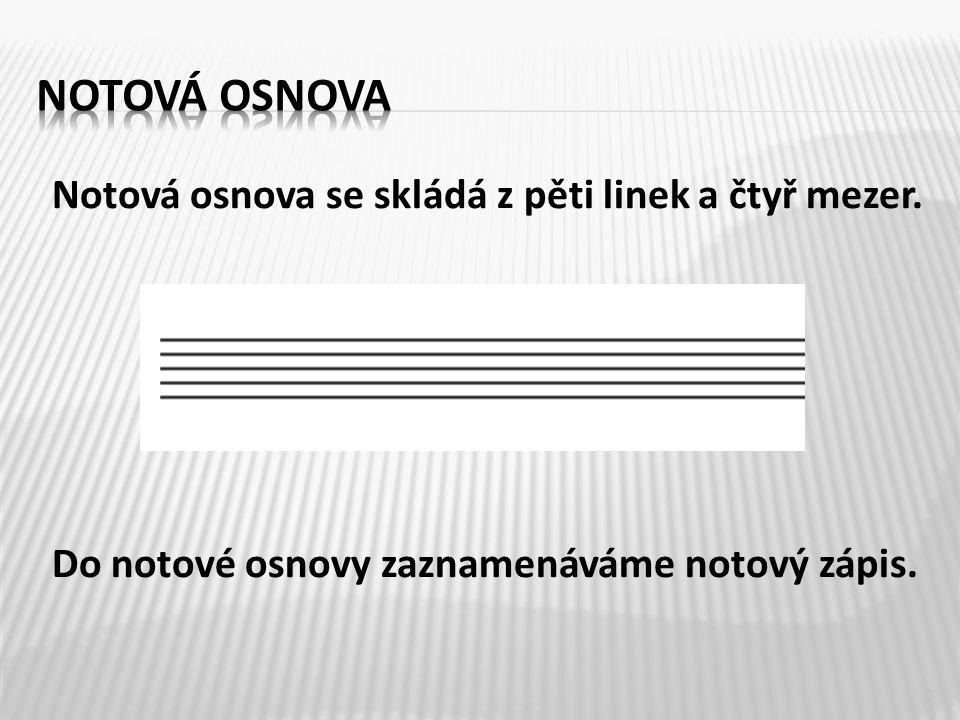 Notová osnova Notová osnova se skládá z pěti linek a čtyř mezer.