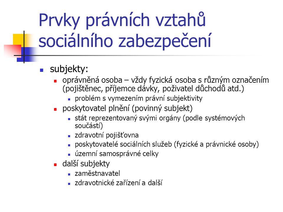 Prvky právních vztahů sociálního zabezpečení