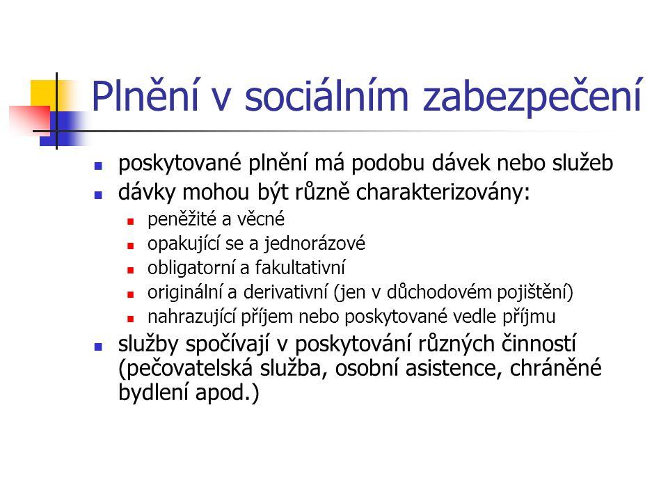 Plnění v sociálním zabezpečení