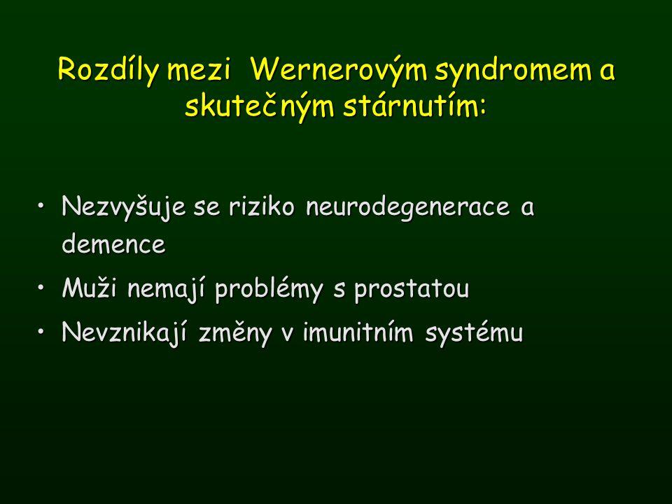 Rozdíly mezi Wernerovým syndromem a skutečným stárnutím:
