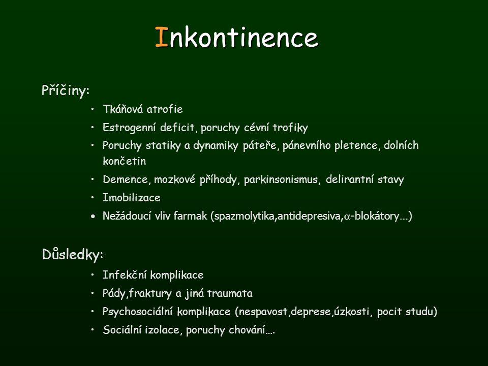 Inkontinence Příčiny: Důsledky: Tkáňová atrofie