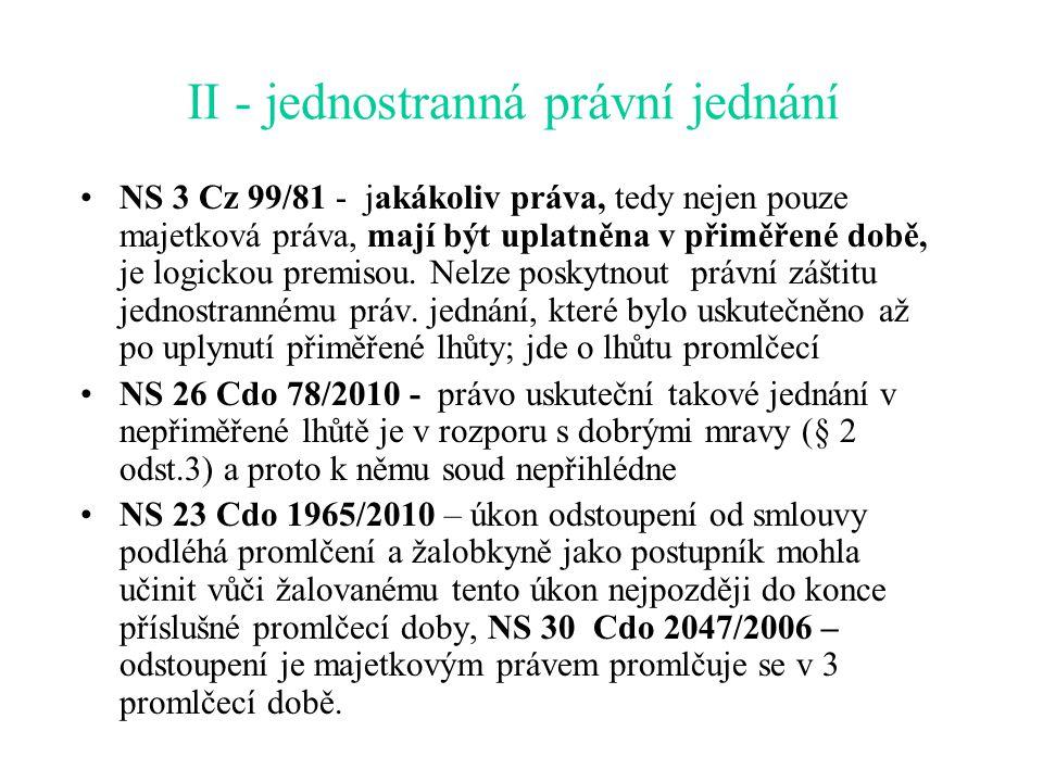 II - jednostranná právní jednání