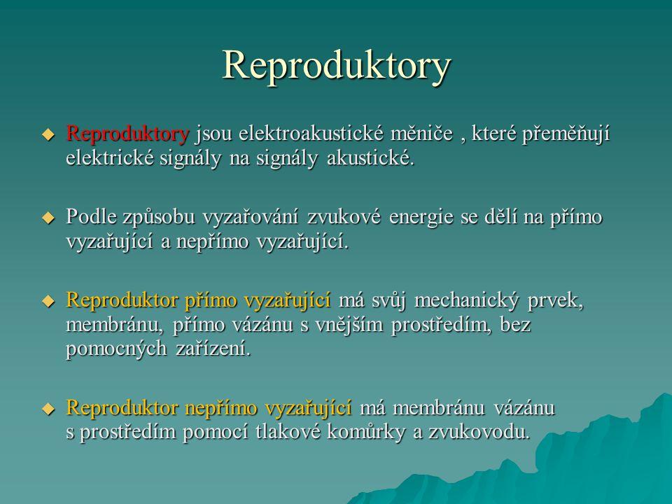Reproduktory Reproduktory jsou elektroakustické měniče , které přeměňují elektrické signály na signály akustické.