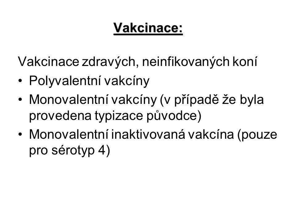 Vakcinace: Vakcinace zdravých, neinfikovaných koní. Polyvalentní vakcíny. Monovalentní vakcíny (v případě že byla provedena typizace původce)