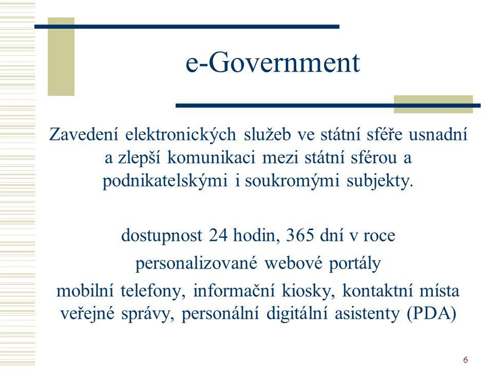 e-Government Zavedení elektronických služeb ve státní sféře usnadní a zlepší komunikaci mezi státní sférou a podnikatelskými i soukromými subjekty.