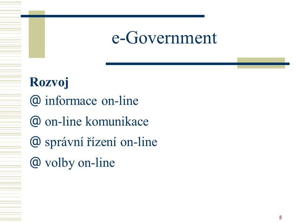 e-Government Rozvoj informace on-line on-line komunikace