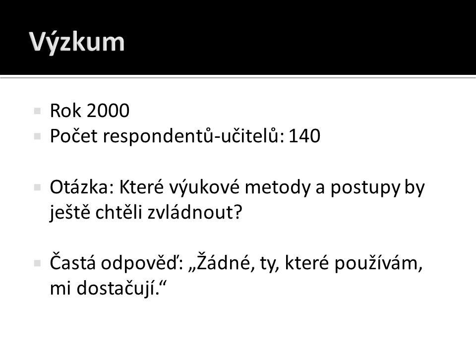 Výzkum Rok 2000 Počet respondentů-učitelů: 140