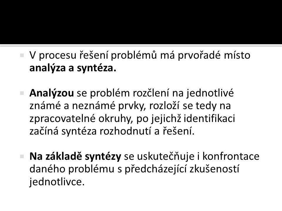 V procesu řešení problémů má prvořadé místo analýza a syntéza.