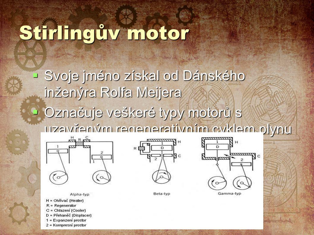 Stirlingův motor Svoje jméno získal od Dánského inženýra Rolfa Meijera