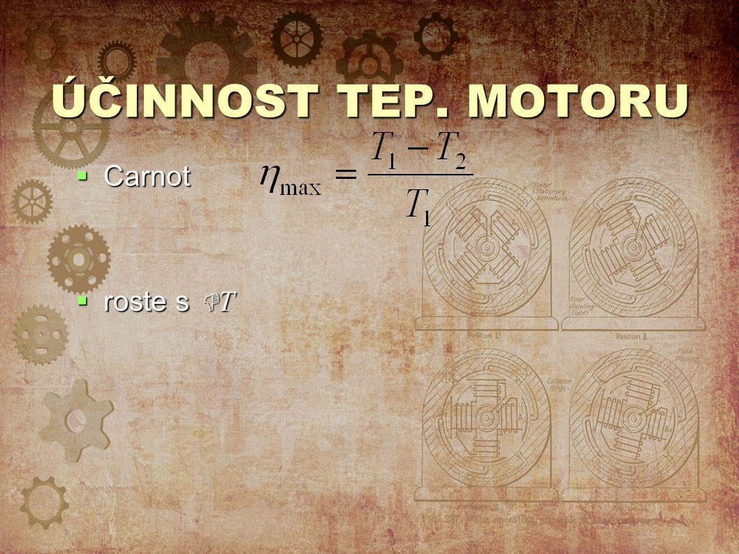 ÚČINNOST TEP. MOTORU Carnot roste s T