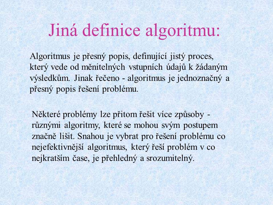 Jiná definice algoritmu: