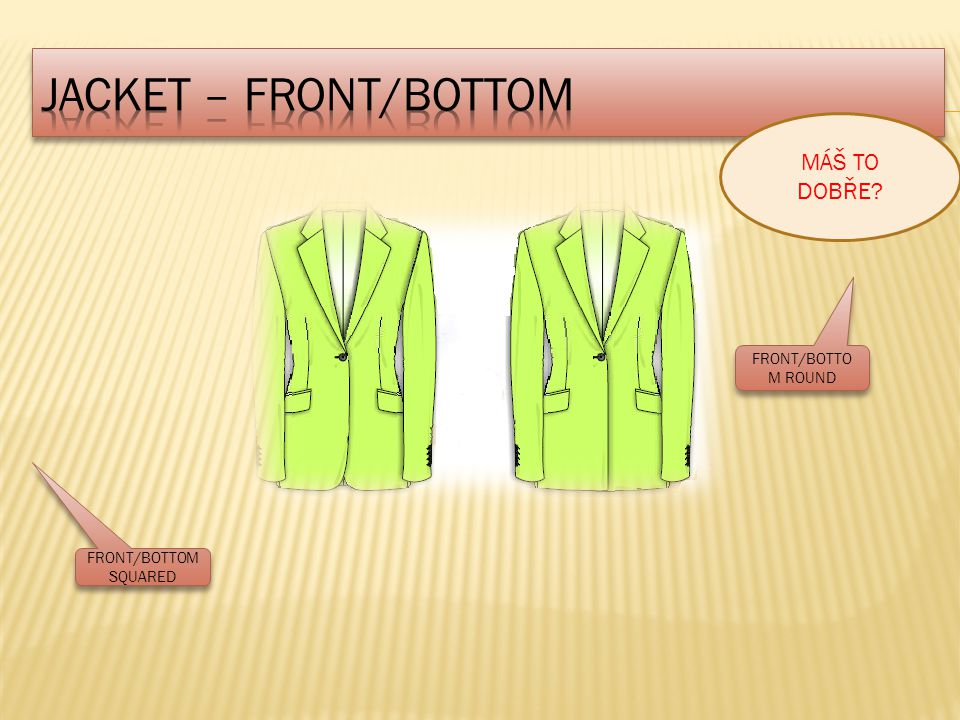 JACKET – FRONT/BOTTOM MÁŠ TO DOBŘE FRONT/BOTTOM ROUND