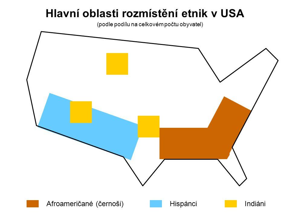Hlavní oblasti rozmístění etnik v USA
