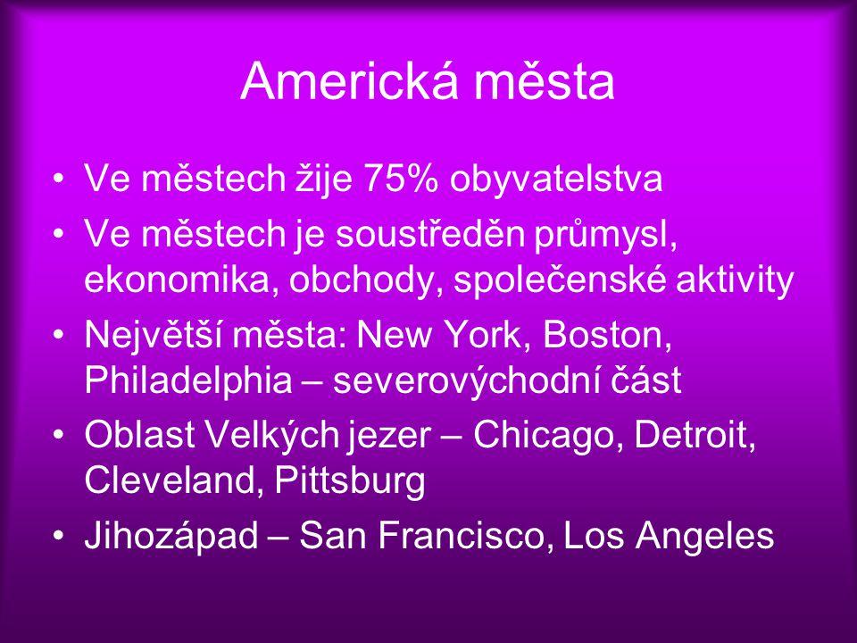Americká města Ve městech žije 75% obyvatelstva