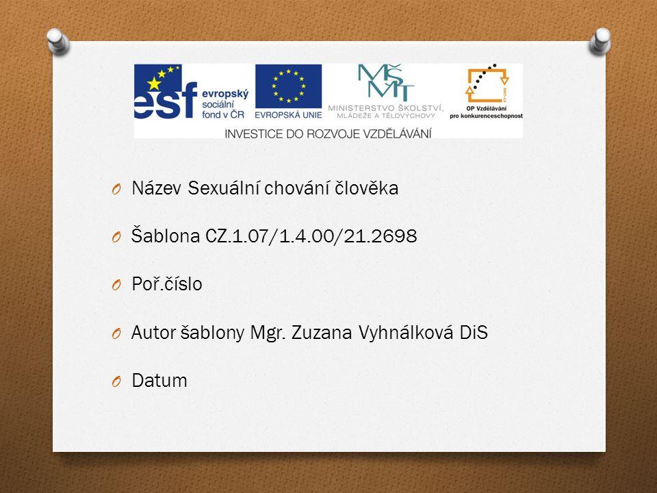 Název Sexuální chování člověka. Šablona CZ.1.07/1.4.00/21.2698. Poř.číslo. Autor šablony Mgr. Zuzana Vyhnálková DiS.