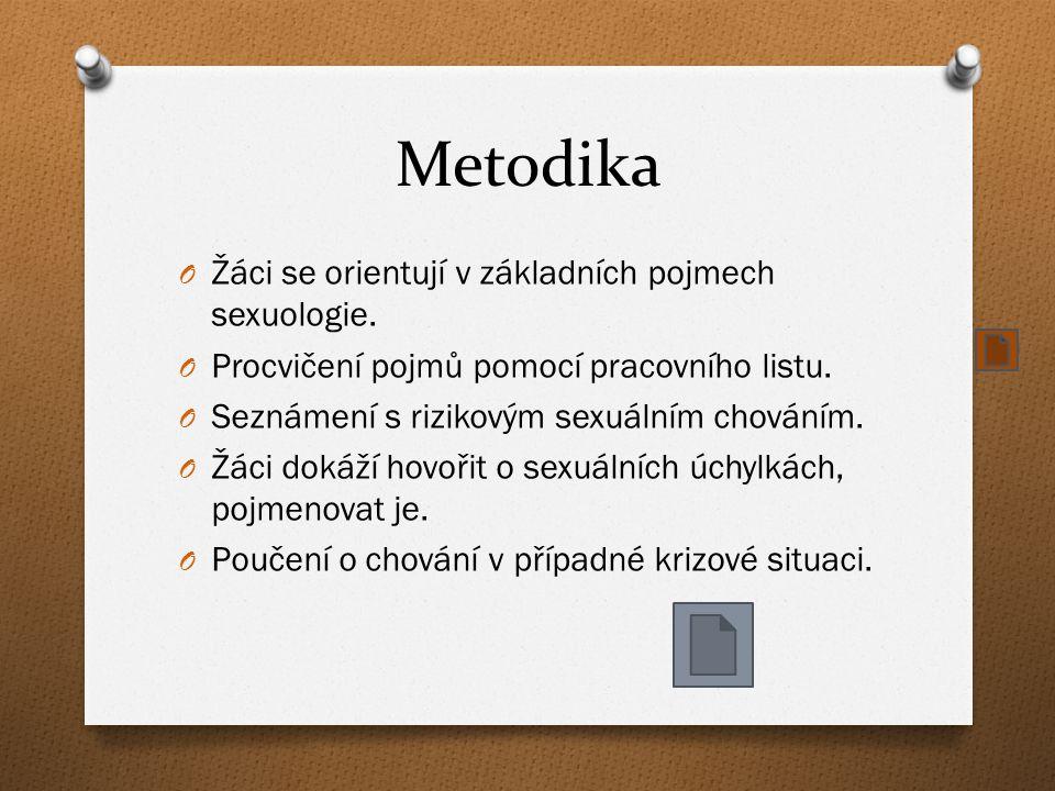 Metodika Žáci se orientují v základních pojmech sexuologie.