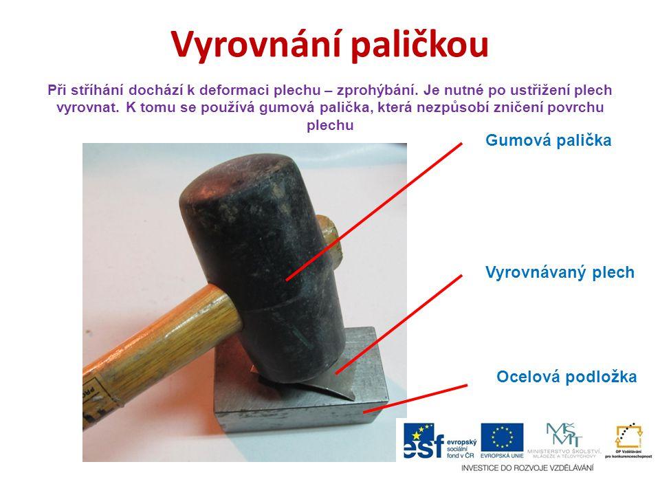 Vyrovnání paličkou Gumová palička Vyrovnávaný plech Ocelová podložka