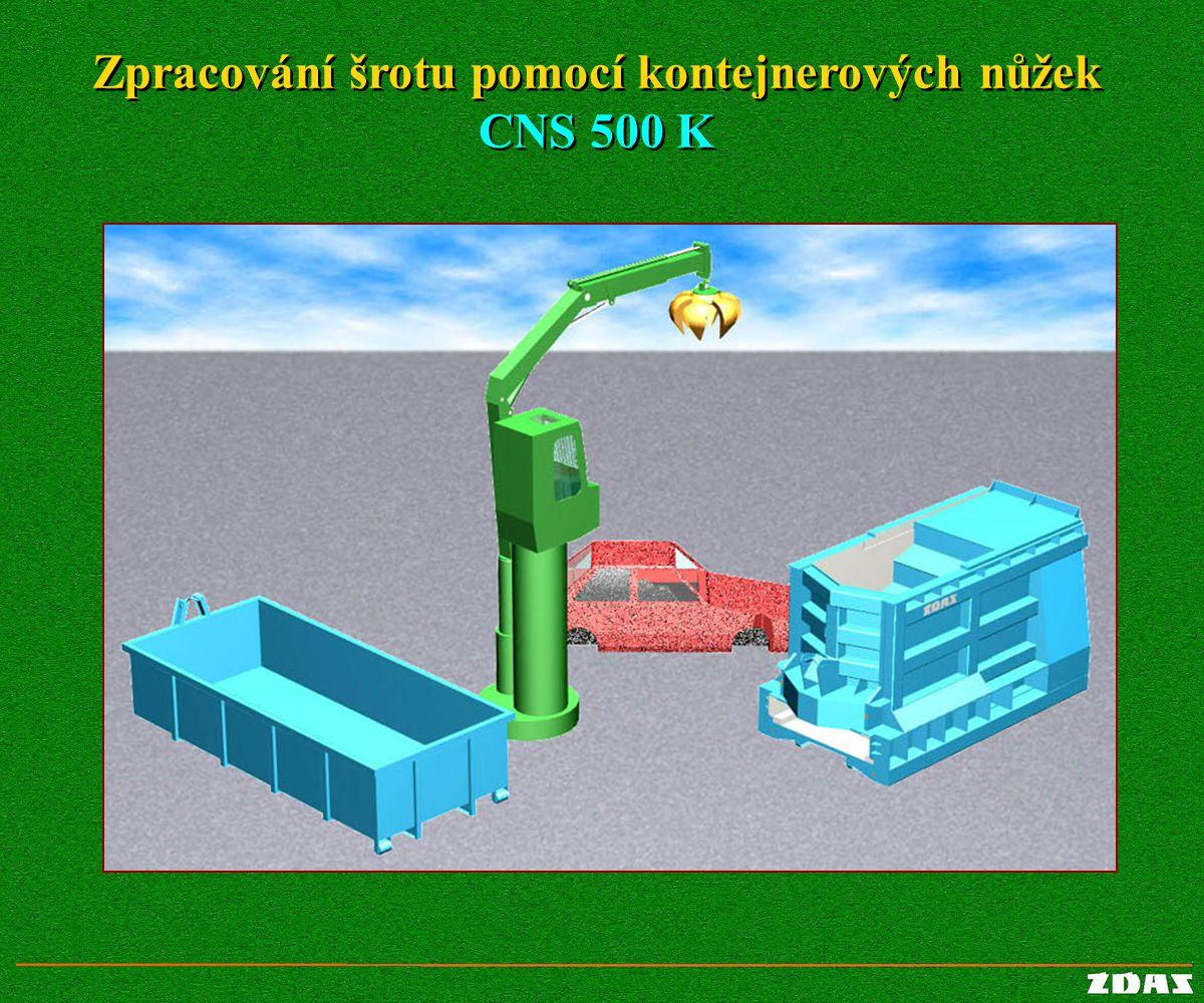 Zpracování šrotu pomocí kontejnerových nůžek CNS 500 K