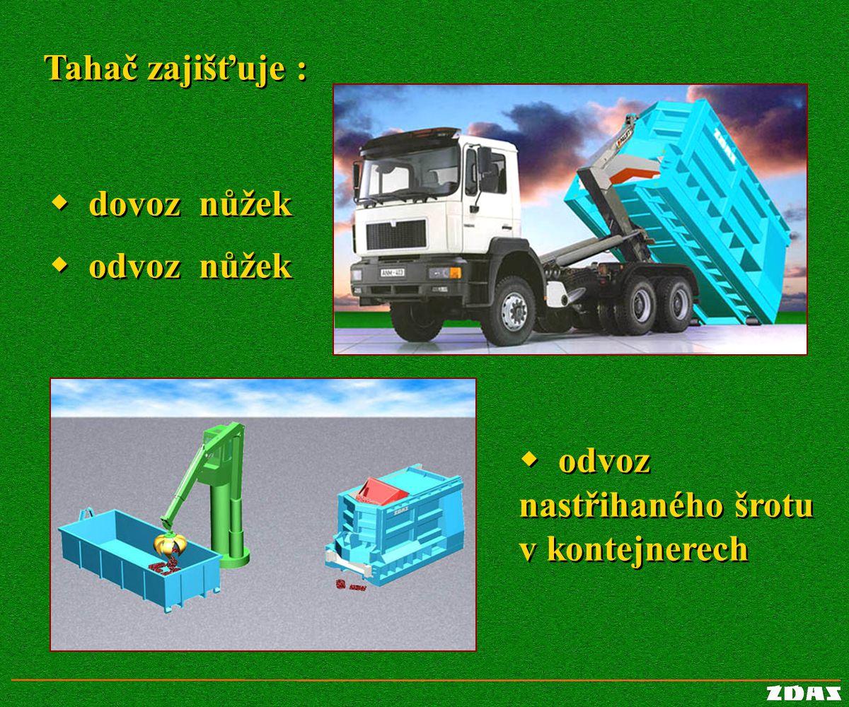 Tahač zajišťuje : w dovoz nůžek w odvoz nůžek w odvoz nastřihaného šrotu v kontejnerech