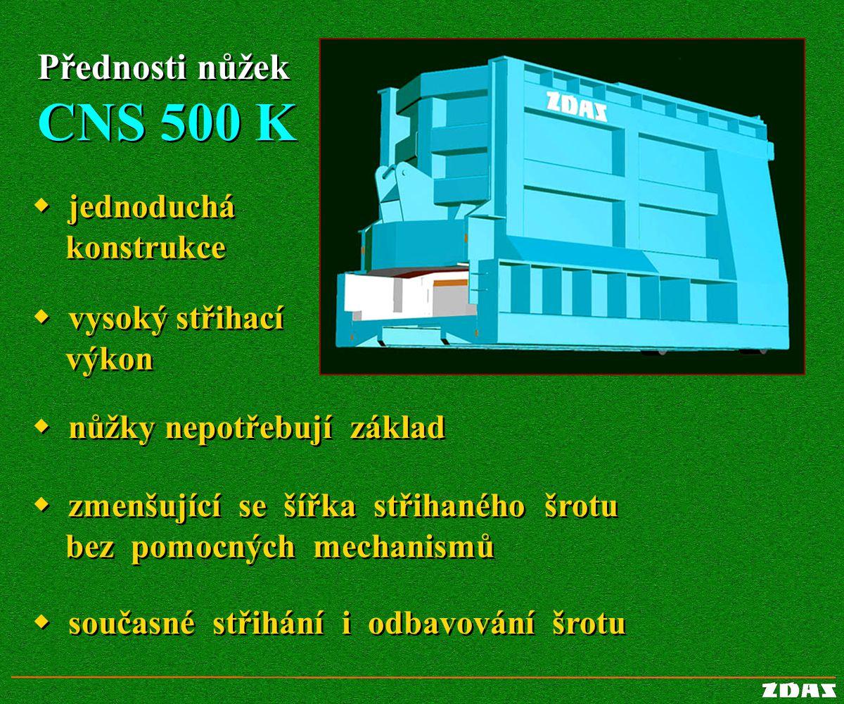 CNS 500 K Přednosti nůžek w jednoduchá konstrukce w vysoký střihací