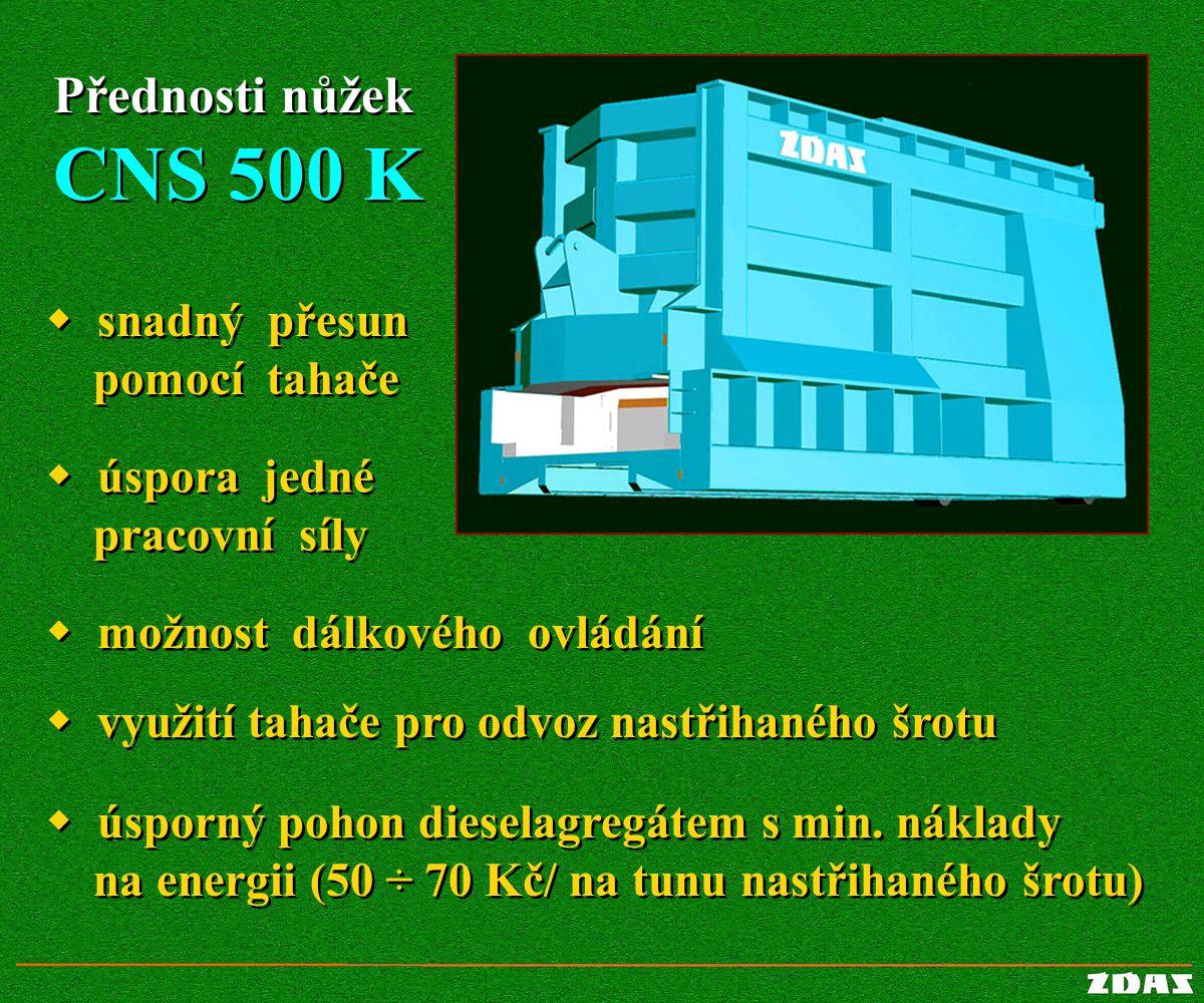 CNS 500 K Přednosti nůžek w snadný přesun pomocí tahače w úspora jedné
