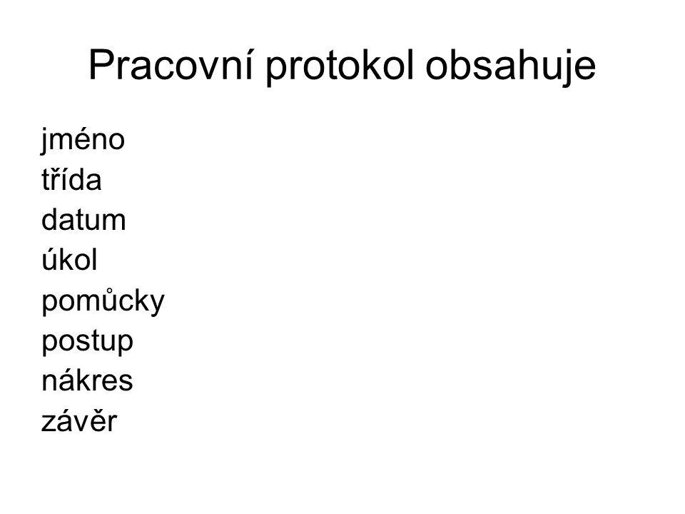 Pracovní protokol obsahuje