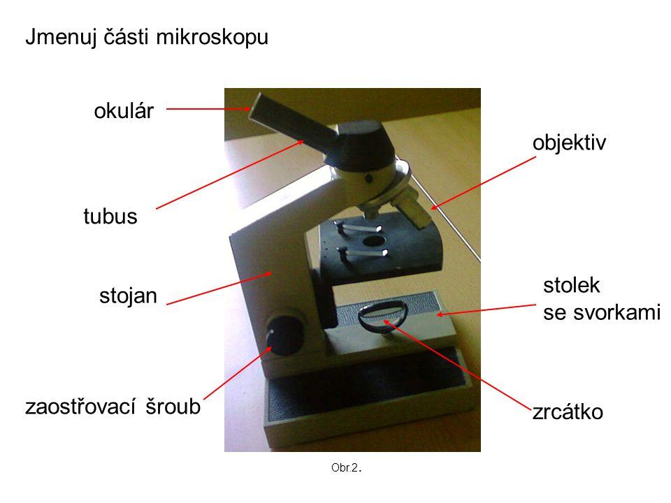 Jmenuj části mikroskopu
