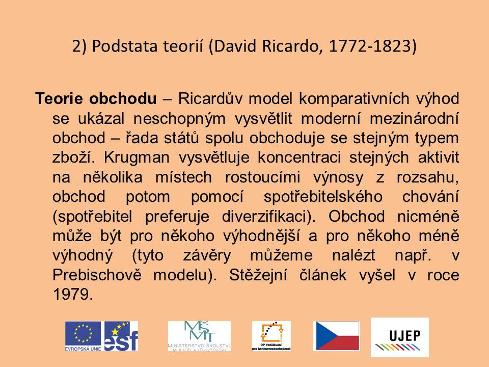 2) Podstata teorií (David Ricardo, 1772-1823)