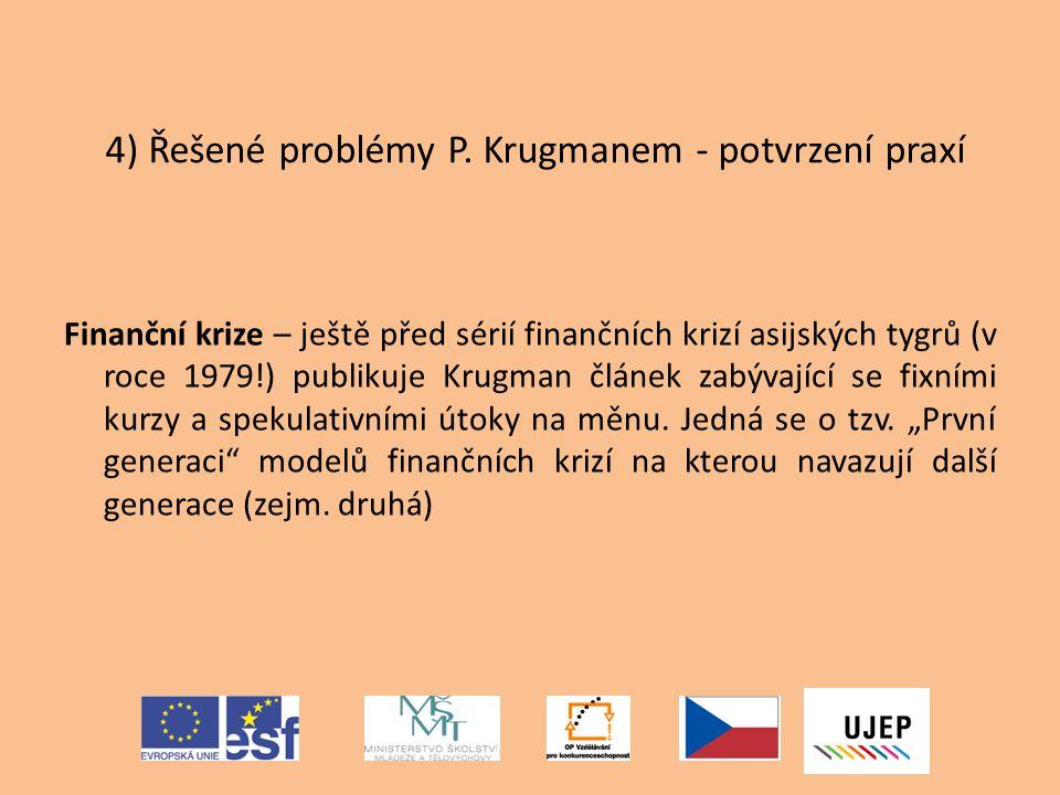 4) Řešené problémy P. Krugmanem - potvrzení praxí