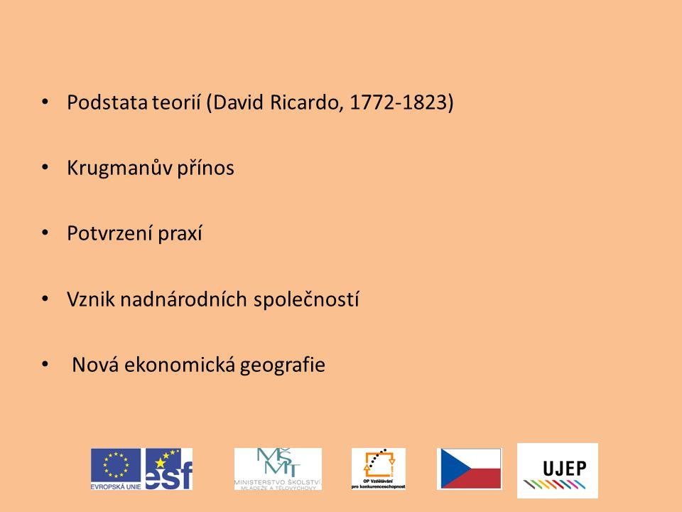 Podstata teorií (David Ricardo, 1772-1823)