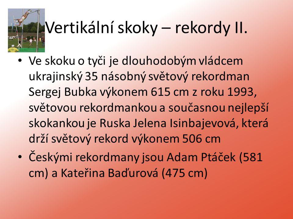 Vertikální skoky – rekordy II.