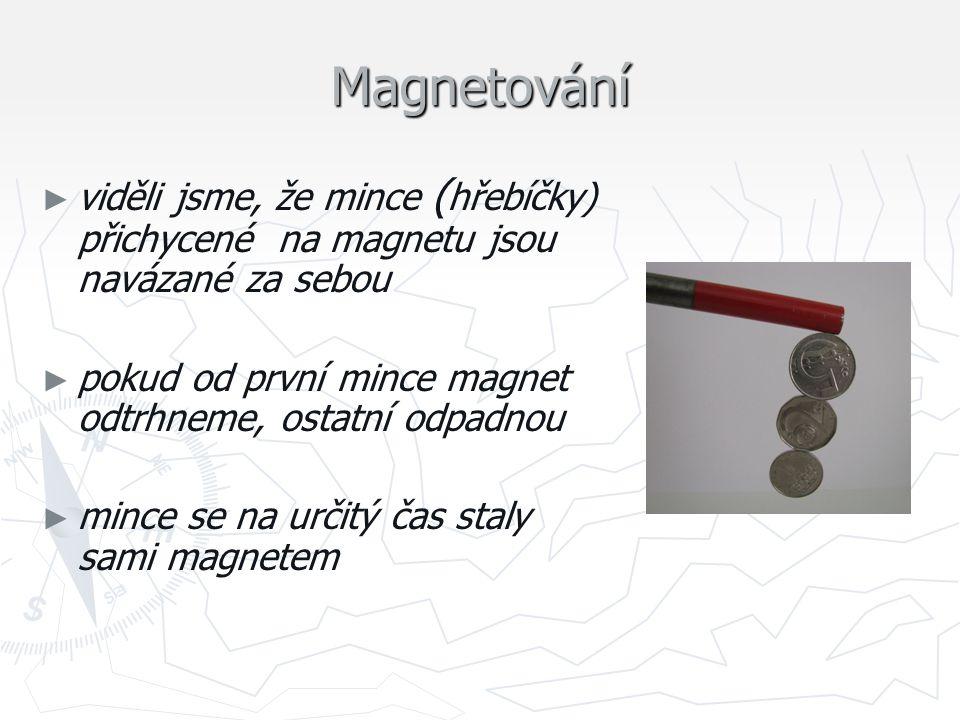Magnetování viděli jsme, že mince (hřebíčky) přichycené na magnetu jsou navázané za sebou. pokud od první mince magnet odtrhneme, ostatní odpadnou.