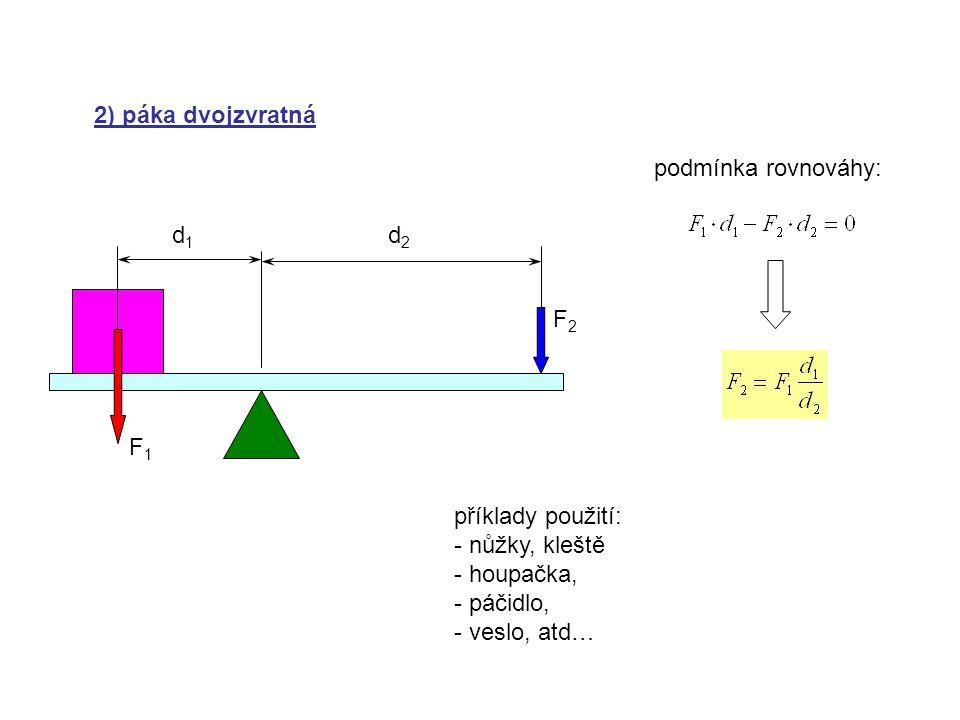 2) páka dvojzvratná podmínka rovnováhy: d1. d2. F2. F1. příklady použití: nůžky, kleště. houpačka,
