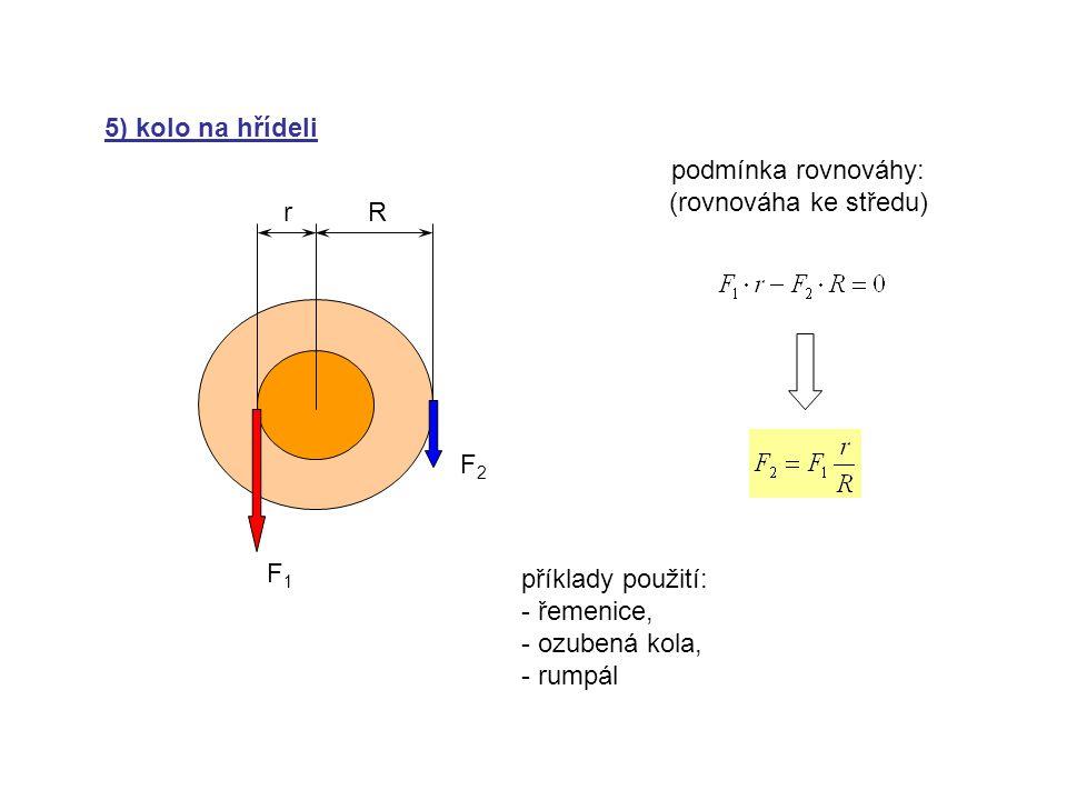 5) kolo na hřídeli podmínka rovnováhy: (rovnováha ke středu) r. R. F2. F1. příklady použití: řemenice,