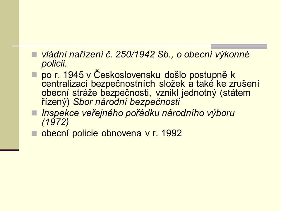 vládní nařízení č. 250/1942 Sb., o obecní výkonné policii.